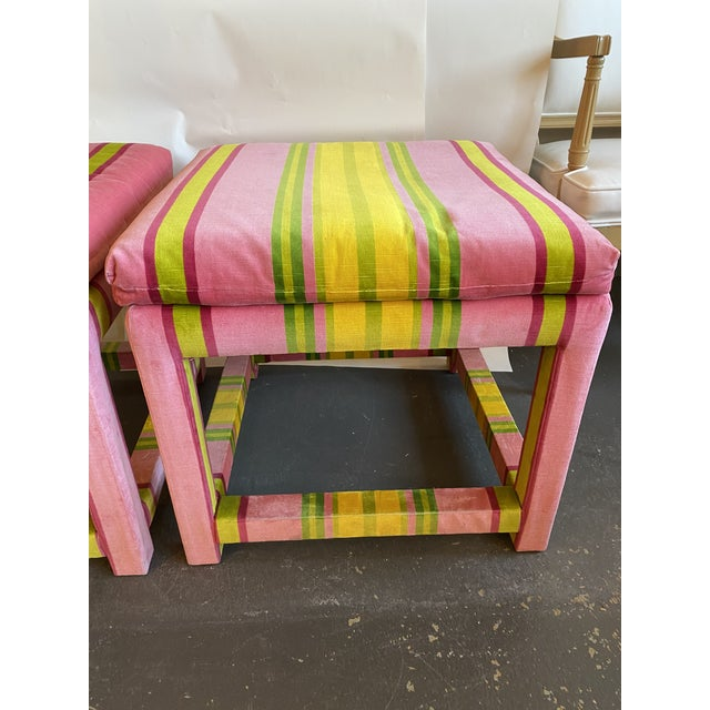 Pair of pink and green velvet parson stools in the style of Milo Baughman for Thayer Coggin. Perfect for extra seating....
