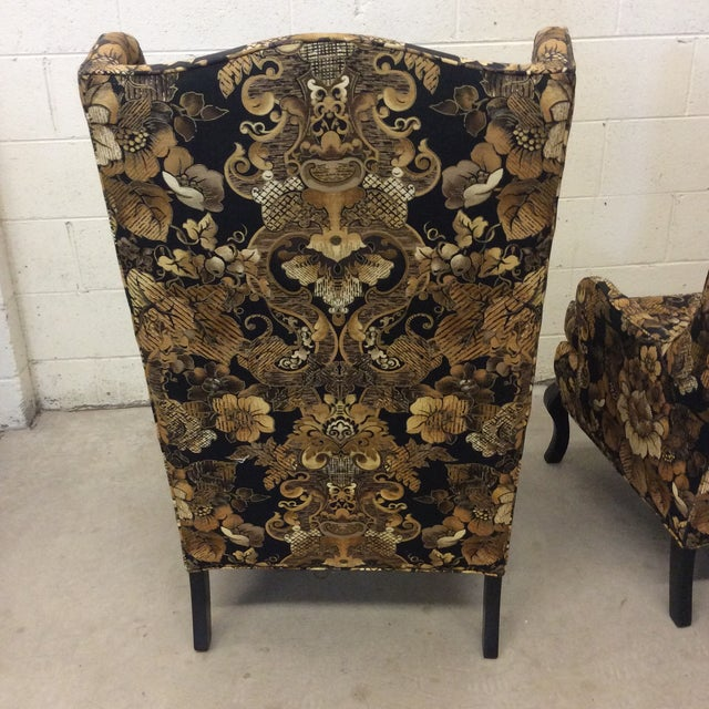 Hollywood Regency Black & Gold High Back Chairs - a Pair For Sale - Image 9 of 11