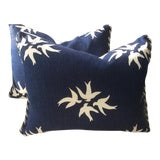 """Image of Victoria Hagan Pillows in Navy & """"White Dove"""" Linen - a Pair For Sale"""