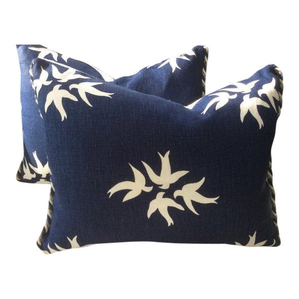 """Victoria Hagan Pillows in Navy & """"White Dove"""" Linen - a Pair For Sale"""