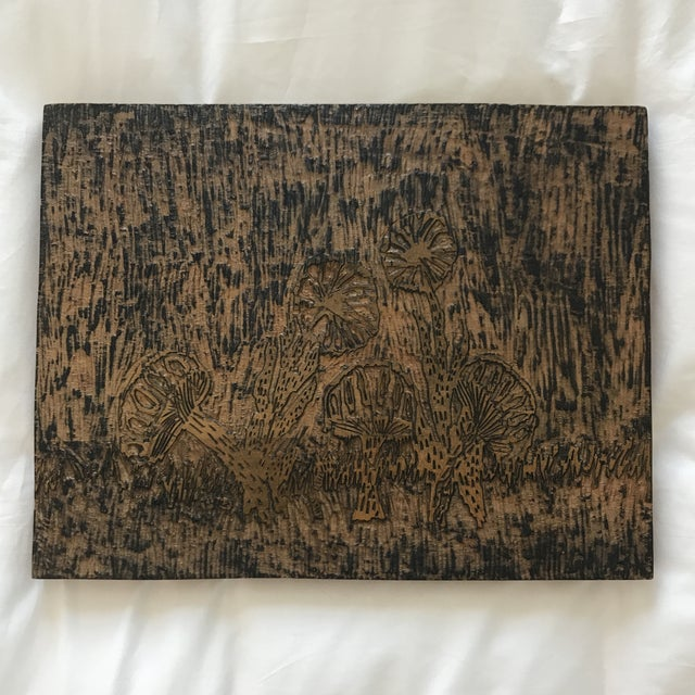 Handmade carved woodblock art, made my an 8th grader :) Features mushroom motif. Ready to hang. Back is signed- Tom Lenz-...