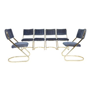 Set of Six Vintage Brass Cantilever Dining Chairs by Douglas Furniture For Sale