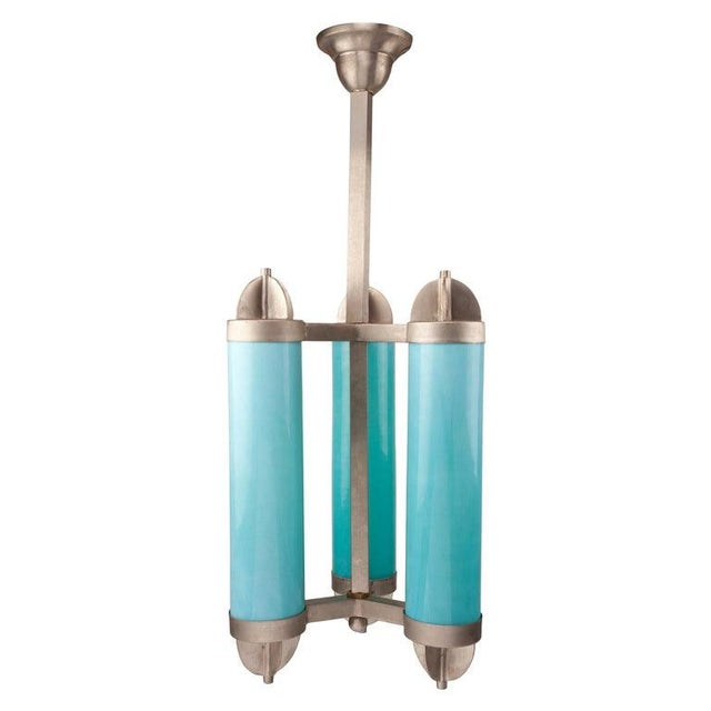 Blue Art Deco Glass and Chrome Pendant Light For Sale - Image 8 of 8