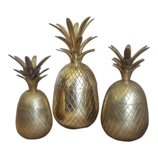 1960's Hollywood Regency Brass Pineapple Containers / Ice Buckets- Set of 3