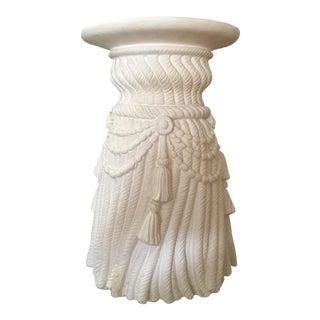 1970s Vintage Hollywood Regency Rope Fringe Tassel Plaster Column Table For Sale