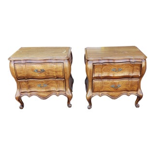 Pair French Provincial Cherry White Fine Furniture Bedroom Night Table Stands 1960s For Sale