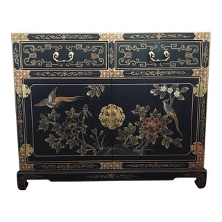 1990s Chinoiserie Matte Black Accent Cabinet For Sale
