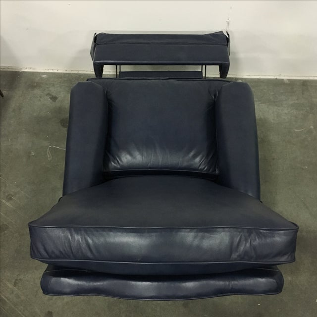 Navy Blue Swivel Recliner by Leathercraft - Image 8 of 10
