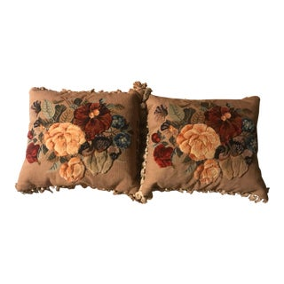 Stumpwork Pillows - A Pair For Sale