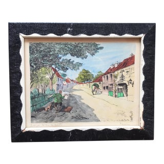 """Framed French """"Rue Des Artistes"""" Painting For Sale"""