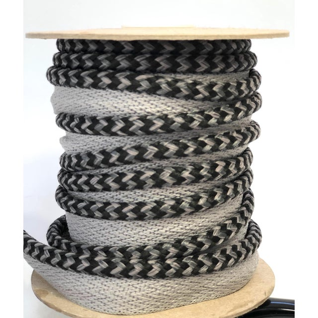 "Charcoal Braided 1/4"" Indoor/Outdoor Cord in Charcoal & Gray For Sale - Image 8 of 10"