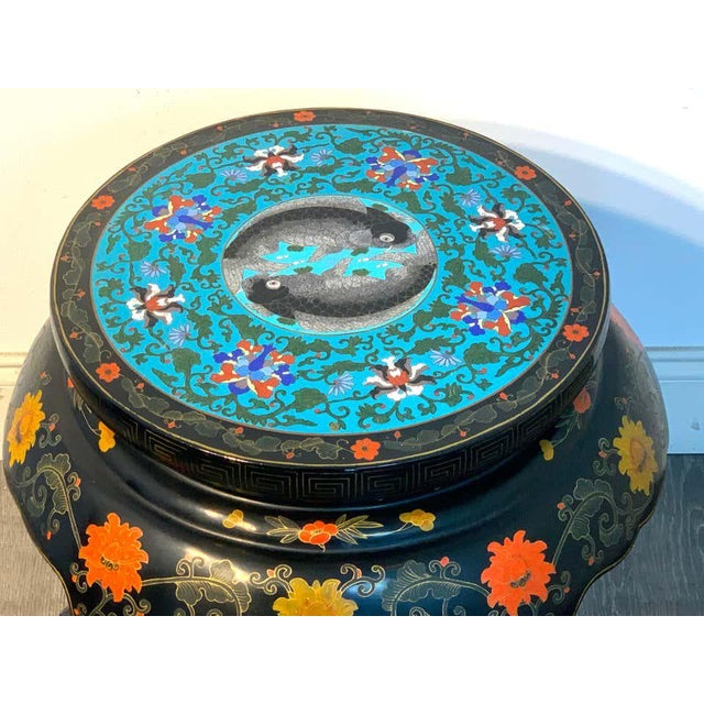 Chinese Export Black Lacquer and Cloisonné Koi Motif Table For Sale - Image 4 of 13