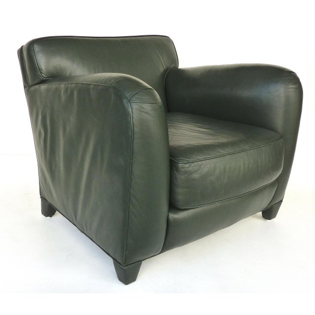 Art Deco Donghia Leather Club Chairs From the Main Street Collection in Forest Green For Sale - Image 3 of 9