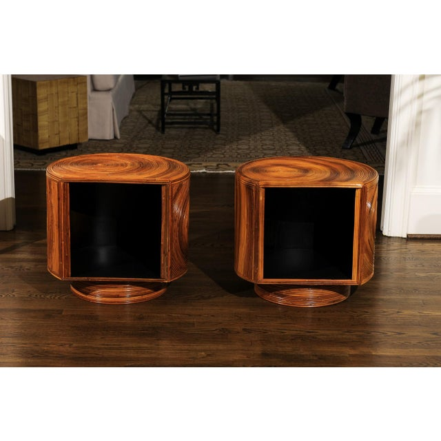 Chic Restored Pair of Swivel Bamboo and Black Lacquer End Tables, Circa 1975 For Sale - Image 11 of 13