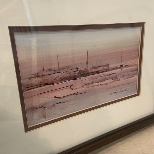 Mid 20th Century Mid 20th Century Abstract Watercolor Painting, Framed For Sale - Image 5 of 10