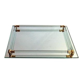 Vintage Hollywood Regency Mirror Vanity Tray For Sale