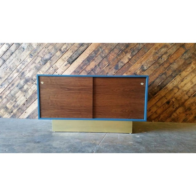 Vintage Custom Blue Lacquer Brass Credenza - Image 2 of 6
