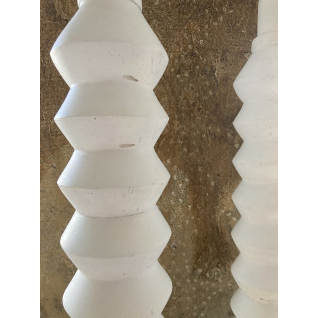 White 1970s Plaster Lamps in the Style of Alberto Giaccometti - a Pair For Sale - Image 8 of 8