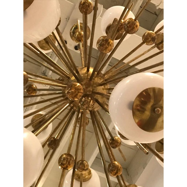 Italian Brass and Glass Sputnik Chandelier For Sale In New York - Image 6 of 11