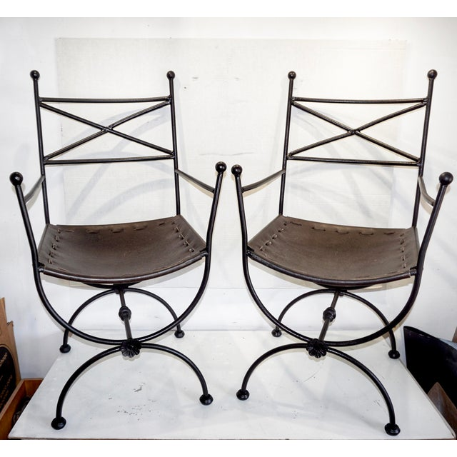 1960s Vintage Italian Iron and Leather Curule Chairs - A Pair For Sale - Image 10 of 10