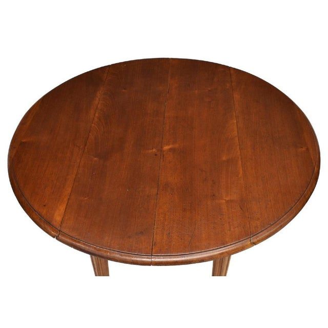 French Louis Philippe Mahogany Drop Leaf Table With Turned Legs on Brass Castors For Sale - Image 4 of 7