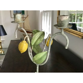 Vintage Italian Tole Lemon Tree Double Candle Holder Preview