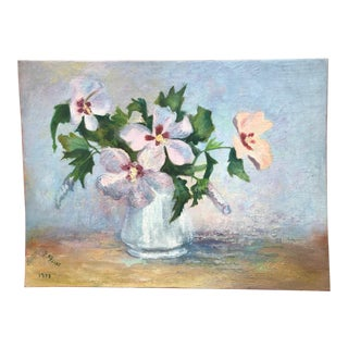 Vintage Floral in Bloom Still Life Painting For Sale