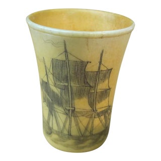Antique Carved Horn Scrimshaw Shot Glass For Sale