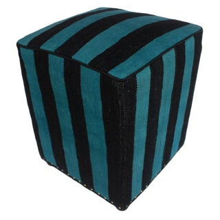 Arshs Deedee Blue/Black Kilim Upholstered Handmade Ottoman For Sale