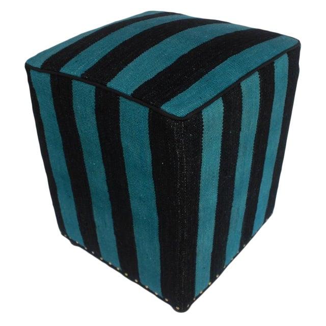Arshs Deedee Blue/Black Kilim Upholstered Handmade Ottoman For Sale