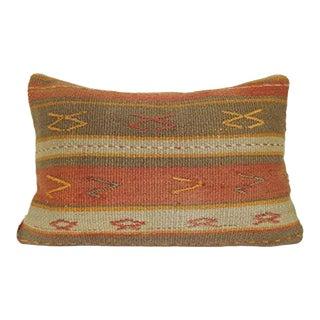 Oriental Turkish Kilim Pillow, Outdoor Garden Decor Lumbar Cushion, Handmade Turkish Chair Kilim Pillow Cover 16'' X 24'' (40 X 60 Cm) For Sale