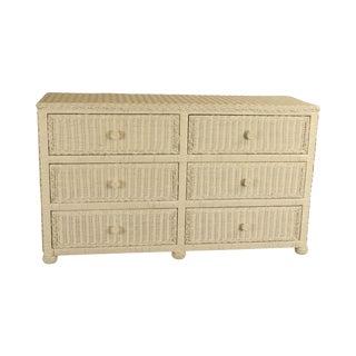 Vintage White Wicker 6 Drawer Dresser For Sale