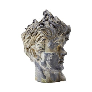Neoclassical Stone Bust Head of a Young Man For Sale