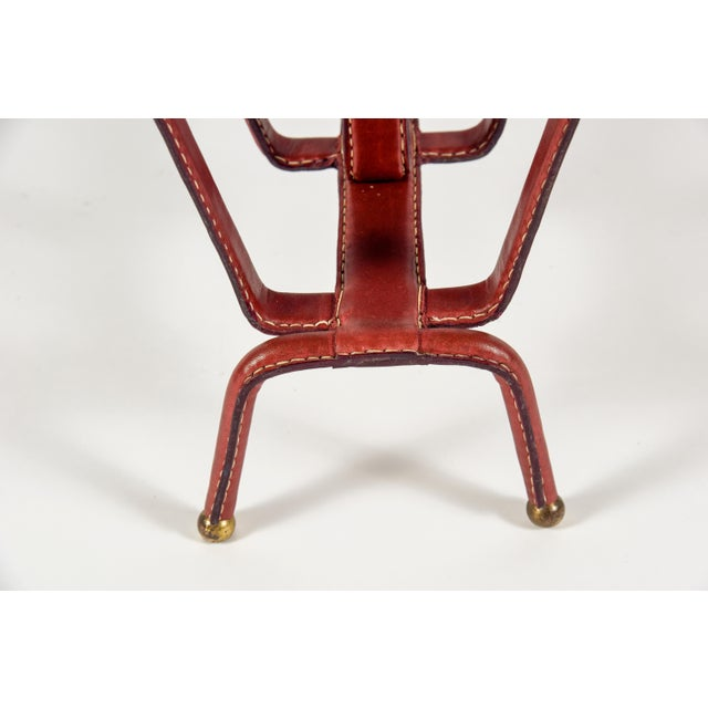 Brick Red 1950s Stitched Leather Magazine Rack by Jacques Adnet For Sale - Image 8 of 9