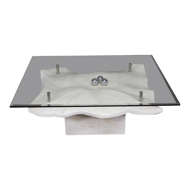 """1990s Post-Modern Tessellated Stone """"Chiseled"""" Cocktail Table For Sale"""