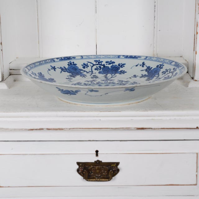 17th Century Antique Chinese Porcelain Blue and White Deep Charger Bowl Ceramic For Sale - Image 9 of 12