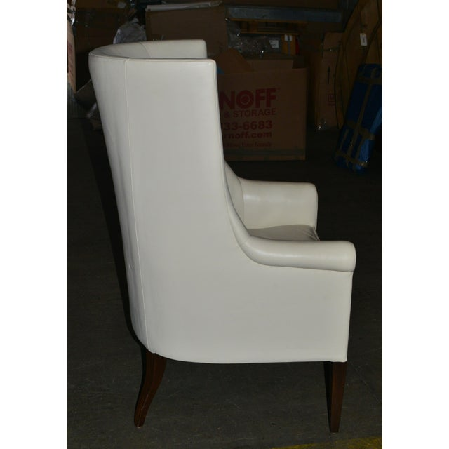 Modern Dessin Fournir Modern White Leather High Back Armchairs - a Pair For Sale - Image 3 of 8