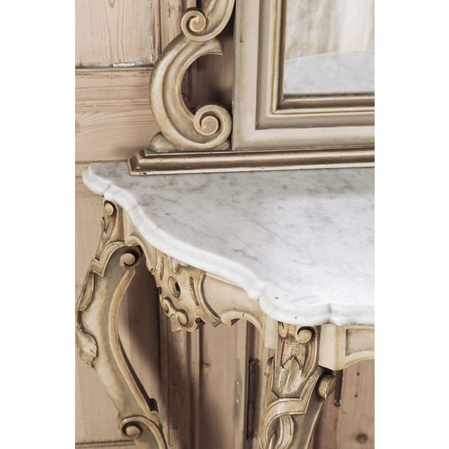 Late 19th Century 19th Century Italian Hand Painted Console and Mirror With Cararra Marble For Sale - Image 5 of 13