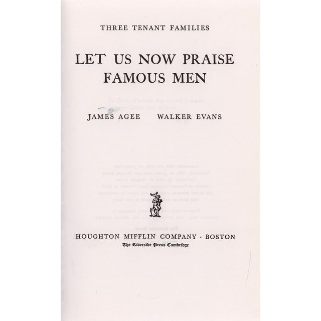 """Transitional 1960 """"Let Us Now Praise Famous Men"""" Collectible Book For Sale - Image 3 of 6"""