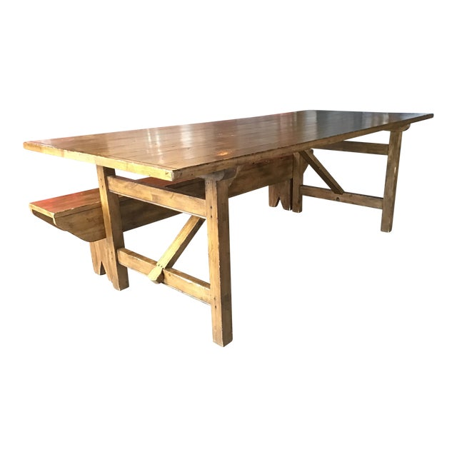 Country Pottery Barn Dining Table with Bench For Sale
