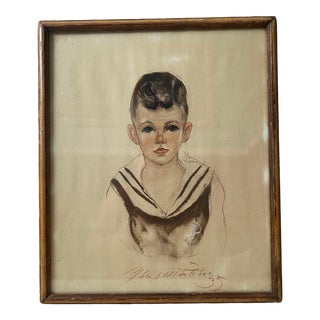 1930s Young Sailor Boy Portrait Drawing For Sale