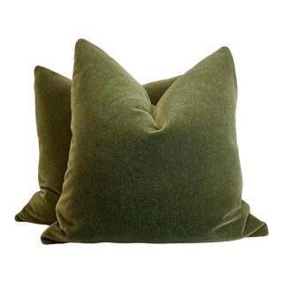 "Moss Mohair 22"" Pillows-A Pair For Sale"