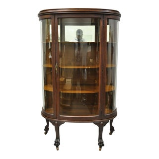 Antique American Empire Bow Glass Oak Paw Feet Mirror Back China Cabinet Curio For Sale