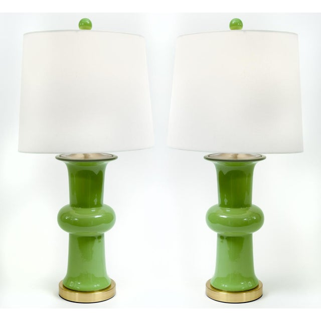 1980s Green Porcelain With Gilt Brass Base Table Lamps - a Pair For Sale - Image 5 of 10
