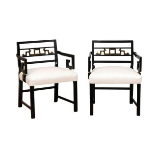 Exquisite Pair of Modern Chinoiserie Greek Key Armchairs by Baker, Circa 1960 For Sale
