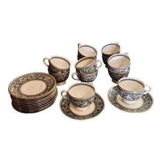 Vintage Wedgwood Florentine Black and White Teacups and Saucers - Set of 12 For Sale