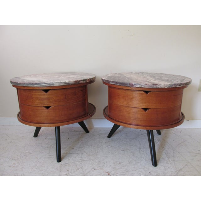 Round Side Tables with Marble Tops - A Pair - Image 2 of 8