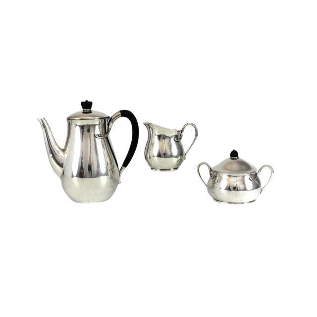Circa 1940 Evald Nielsen Silver Modernist Coffee Service Set - Set of 3 For Sale