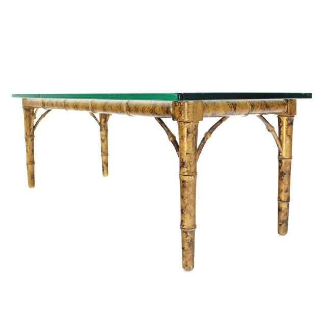 Nice decorative faux bamboo coffee table possibly made by Drexel.