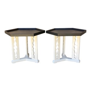1960's Mid-Century Modern Drexel Black and White Drink Tables - a Pair For Sale